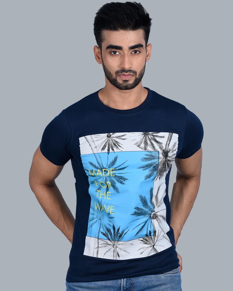 Tom Hiddle Cotton Round Neck Men Ocean Graphic Print T-Shirt