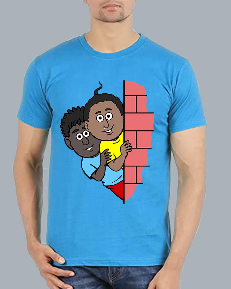 Natia Gendu Wall View Roundneck Skyblue T-shirt