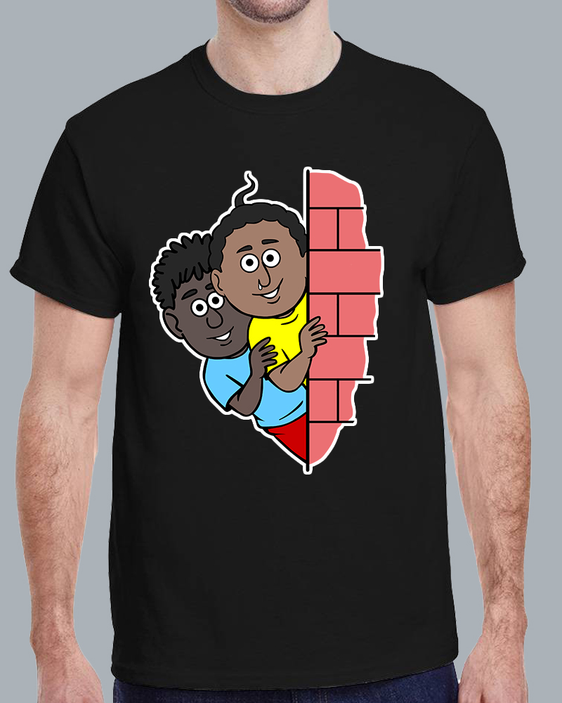 Natia Gendu Wall View Round Neck Black T-shirt