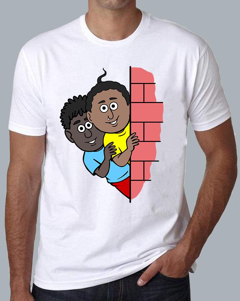 Natia Gendu Wall View Round Neck White T-shirt