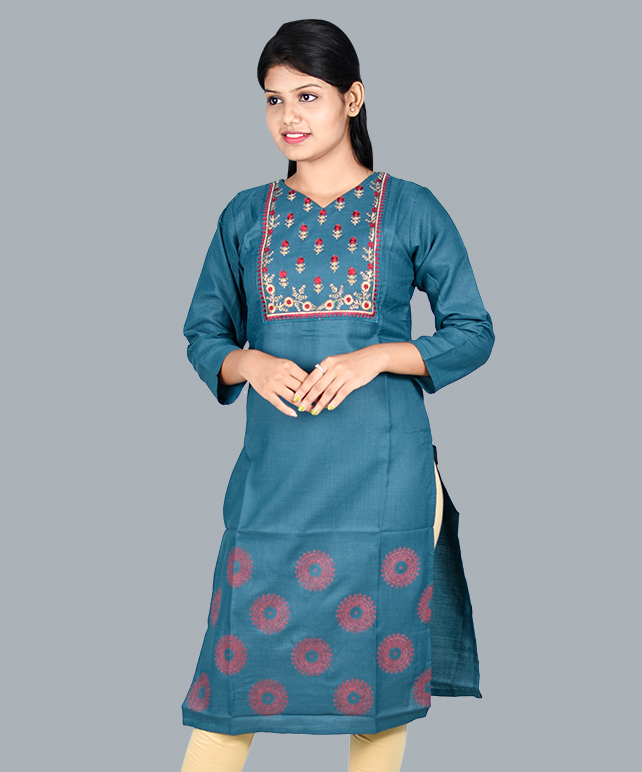 Chingari Cool Blue Color Embrodery Work Kurti