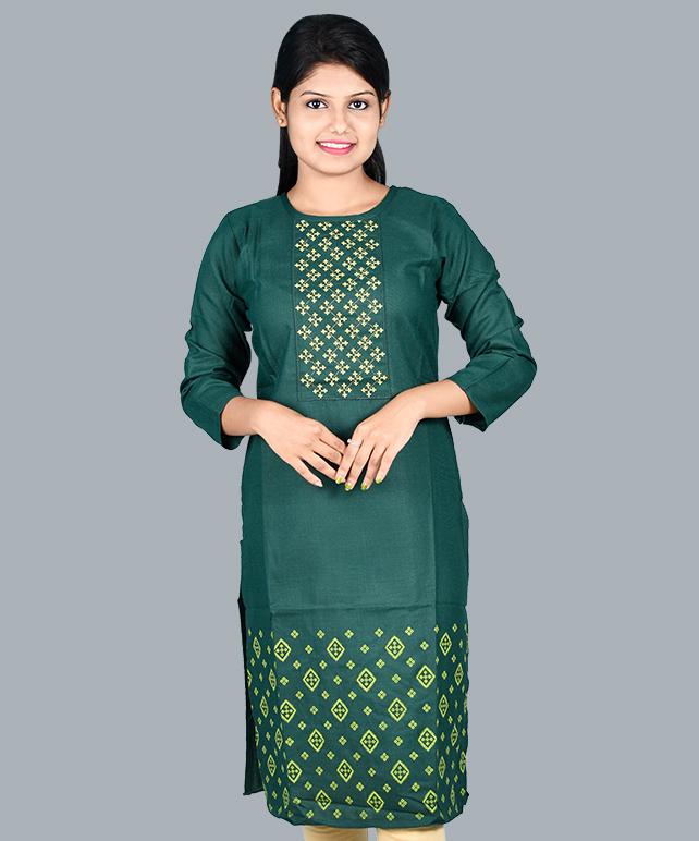 Chingari Cool Green Color Embrodery Work Kurti & mask free