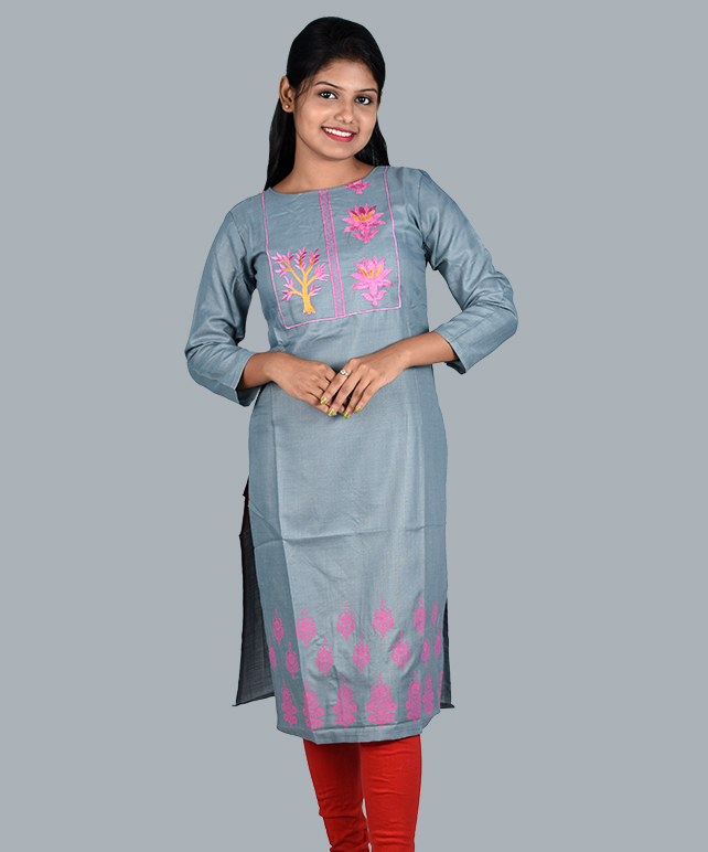 Chingari Cool Grey Color Embrodery Work Kurti With Mask Free