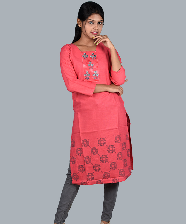 Chingari Dazzle Pink Color Embrodery Work Kurti With mask Free